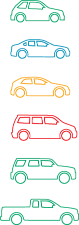 different types of vehicles as icons