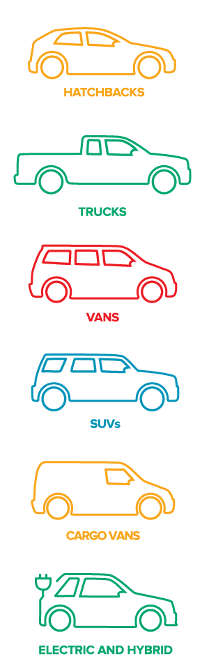 fleet of available vehicles includes hatchback, trucks, vans, SUVs, cargo vans, electric and hybrids