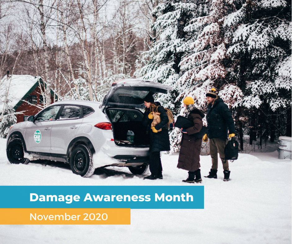 Damage awareness Month, peg city car on snowy road, people unloading supplies