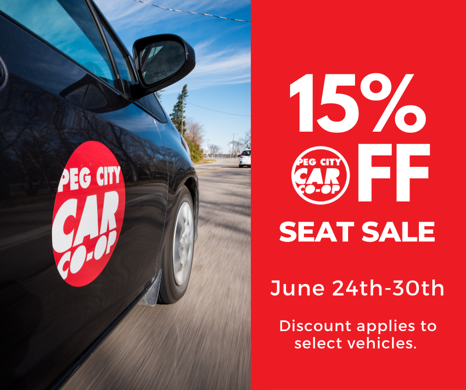 car with peg city logo, 15% off seat sale, June 24 -30th
