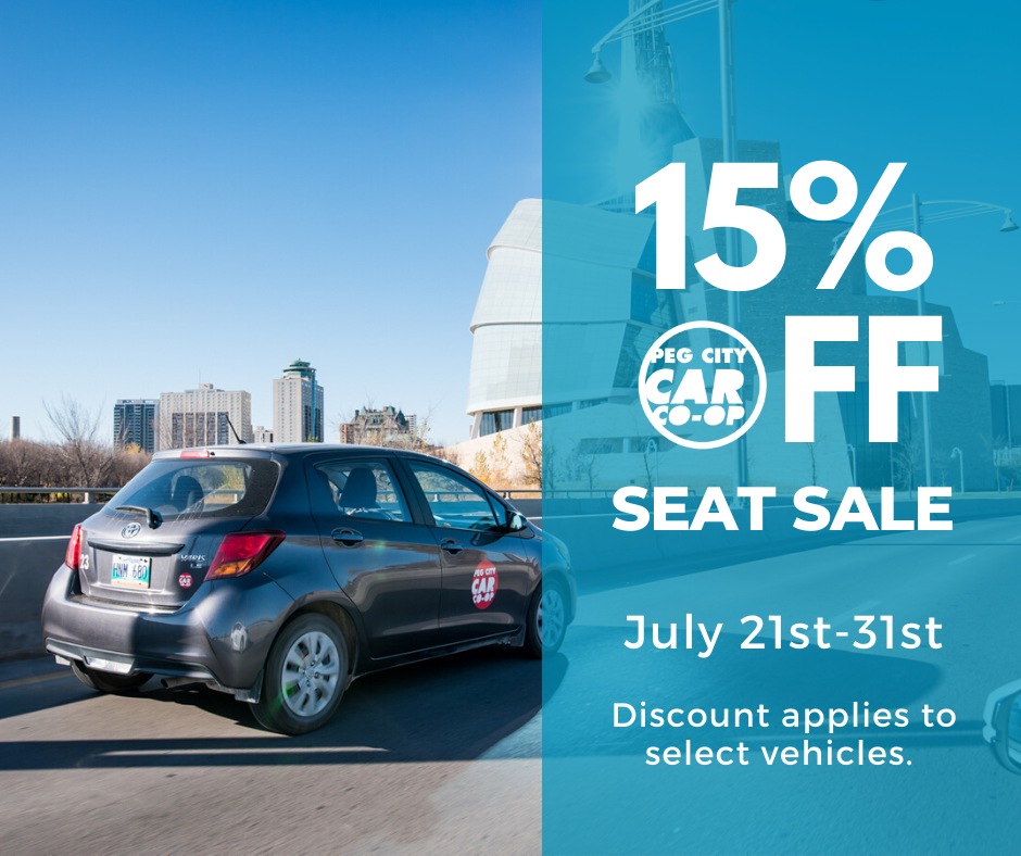 peg city car driving, 15% seat sale, July 21-24th on select vehicles