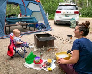 Small child telling a campfire story