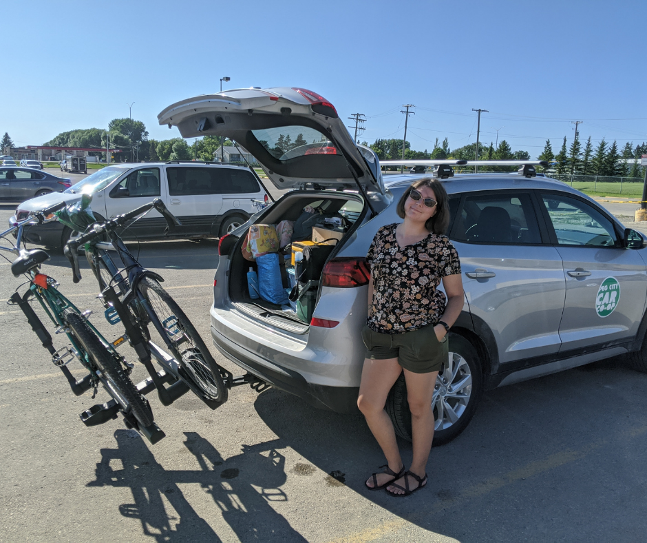 Loading the Hyundai Tuscon, and bikes. Peg City Car Co-op