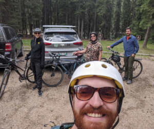 Riding Bikes with friends, while camping