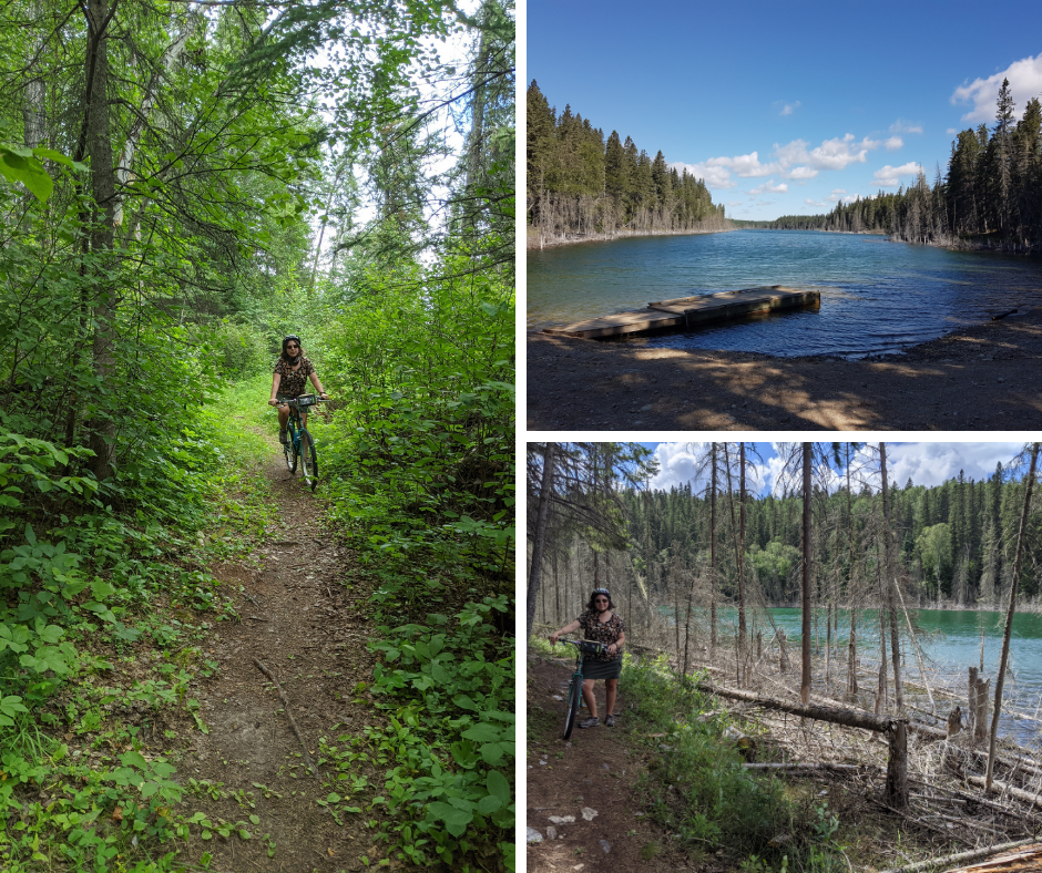 multiple pictures, bike trails, lake