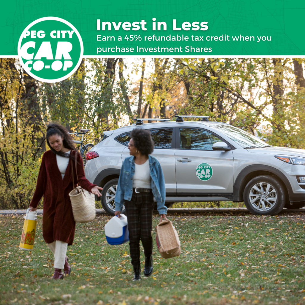 Invest in Less: Investment Share opportunity with Peg City Car Co-op, two friends walking in the park