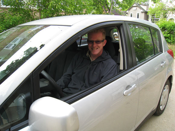 Ken Bond, in the driver's seat of the first ever Peg City Car Co-op booking! Notice we didn't even have decals yet!