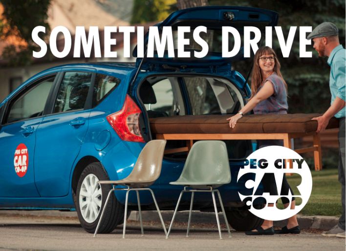 Text: sometimes Drive, Peg City Car Co-op. Couple loading chairs into a co-op car