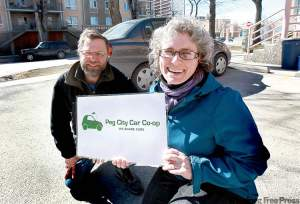Ruth.bonneville@FreePress.mb.ca Beth McKechnie and Bruce Berry of Peg City Car Co-op, which will begin acquiring vehicles in the next few weeks.